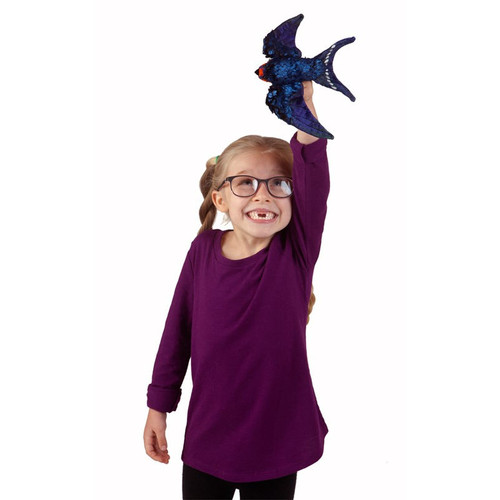 Folkmanis Barn Swallow Hand Puppet with child