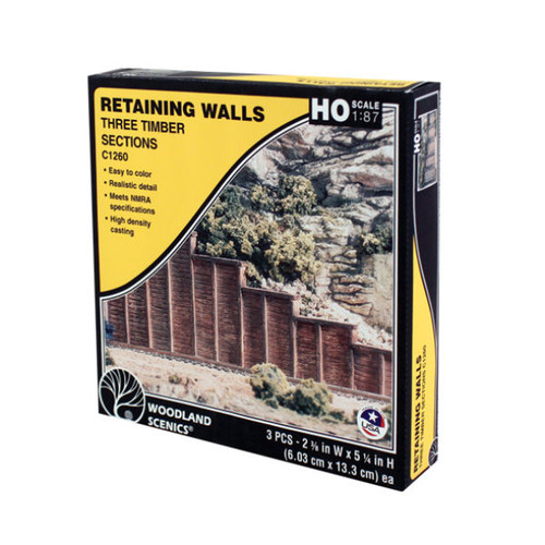 Woodland Scenics Timber Retaining Wall HO Scale packaging