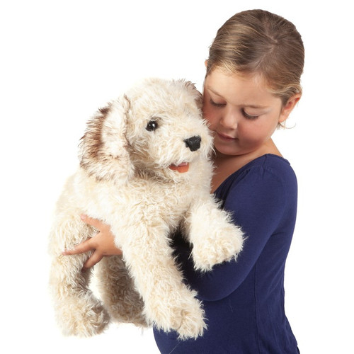 Folkmanis Labradoodle Puppy Puppet with girl