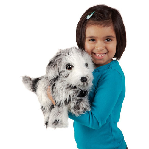 Folkmanis Shih Tzu Puppy Puppet with girl