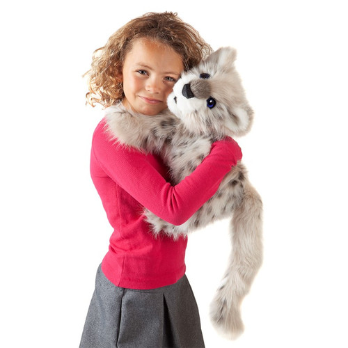Folkmanis Snow Leopard Cub Puppet with girl