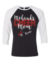 MCHS Cheer Mom Glitter Baseball T-Shirt