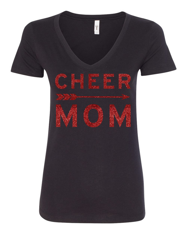 MCHS Cheer Mom Glitter V Neck