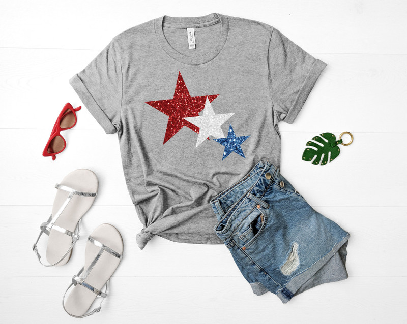4th of July Glitter Star Tee