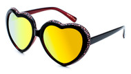 Heart Shaped Sunglasses With Color Mirror Lens