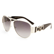 Sunglasses Luxe Metal Aviators with Brushed Metal Lion Temples