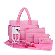 CiPU CT-Bag 2.0 ECO Diaper Bag Tote 9 Piece Combo Set (Pink Polka Dots)