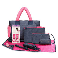 CiPU CT-Bag 2.0 ECO Diaper Bag Tote 9 Piece Combo Set (Denim Pink)
