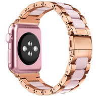LUXE Pink Resin & Stainless Steel  Band Bracelet for 42MM Apple Watch Series 5/4/3/2/1