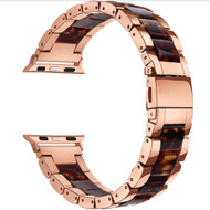 LUXE Tortoise Resin & Stainless Steel Band Bracelet for Apple Watch Band 42MM Series 5/4/3/2/1