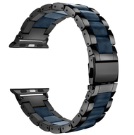 LUXE Navy Resin & Stainless Steel Band Bracelet for Apple Watch Band 42MM Series 5/4/3/2/1