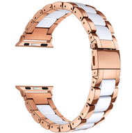 LUXE White Resin & Stainless Steel Band Bracelet for Apple Watch Band 42MM Series 5/4/3/2/1