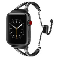 LUXE Black Metal Band Bracelet with Rhinestones for Apple Watch 38mm Series 5/4/3/2/1