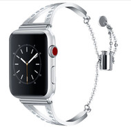 LUXE Silver Metal Band Bracelet with Rhinestones for Apple Watch 38mm Series 5/4/3/2/1