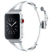 LUXE Silver Metal Band Bracelet with Rhinestones for Apple Watch 42mm Series 5/4/3/2/1