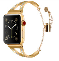 LUXE Gold Metal Band Bracelet with Rhinestones for Apple Watch 38mm Series 5/4/3/2/1