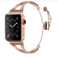 LUXE Rose Gold Metal Band Bracelet with Rhinestones for Apple Watch 42mm Series 5/4/3/2/1