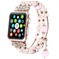 LUXE Pink Beaded Elastic Band for Apple Watch 38MM Series 5/4/3/2/1