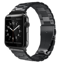 LUXE Black Metal Link Stainless Steel Band for Apple Watch 42MM Series 5/4/3/2/1