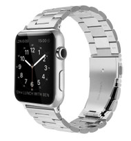 LUXE Silver Metal Link Stainless Steel Band for Apple Watch 38MM Series 5/4/3/2/1