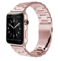 LUXE Rose Gold Metal Link Stainless Steel Band for Apple Watch 38MM Series 5/4/3/2/1
