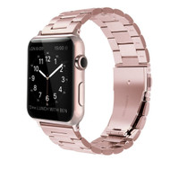 LUXE Rose Gold Metal Link Stainless Steel Band for Apple Watch 42MM Series 5/4/3/2/1