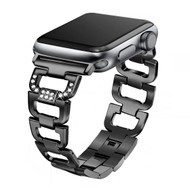 LUXE Black Stainless Steel Bling Band Bracelet for Apple Watch 42mm Series 5/4/3/2/1