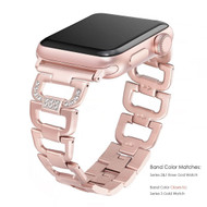 LUXE Rose Gold Stainless Steel Bling Band Bracelet for Apple Watch 38mm Series 5/4/3/2/1