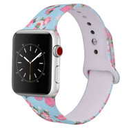 LUXE Baby Blue Floral Silicone Printed Band for Apple Watch 38mm Series 5/4/3/2/1