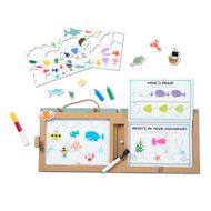 Melissa & Doug Natural Play: Draw, Create Reusable Drawing & Magnet Kit – Ocean (42 Magnets, 5 Dry-Erase Markers)