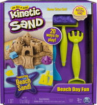 Kinetic Sand, Beach Day Fun Playset with Castle Molds, Tools, and 12 oz. of Kinetic Sand for Ages 3 and Up