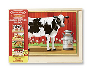 Melissa & Doug Farm 4-in-1 Wooden Jigsaw Puzzles in a Storage Box (48 pcs total)