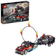 LEGO Technic Stunt Show Truck & Bike 42106 Building Kit with Motorcycle, Toy Truck and Trailer (610 pieces)