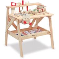 "Melissa & Doug Wooden Project Solid Wood Workbench (Pretend Play, Sturdy Wooden Construction, Storage Shelf, 26"" H × 18.75"" W x 24"" L)"