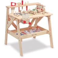 "Melissa & Doug Wooden Project Solid Wood Workbench (Pretend Play, Sturdy Wooden Construction, Storage Shelf, 26"" H × 18.75"" W x 24"" L)"