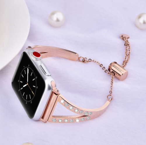 Luxe Rose Gold Metal Band Bracelet With Rhinestones For Apple Watch 42mm Series 5 4 3 2 1