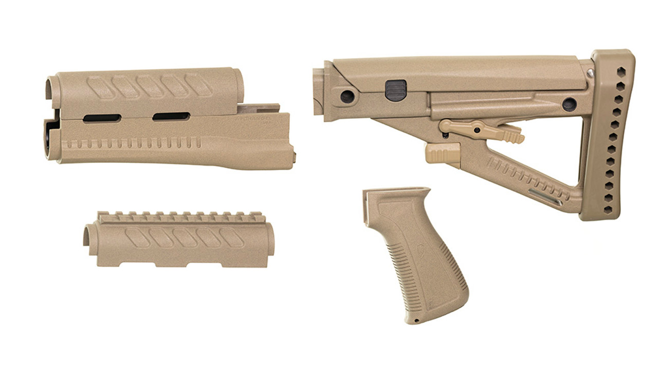 Archangel® OPFOR® Series Buttstock, Railed Forend, Pistol Grip Complete Set for YUGO PAP AK - Desert Tan Polymer