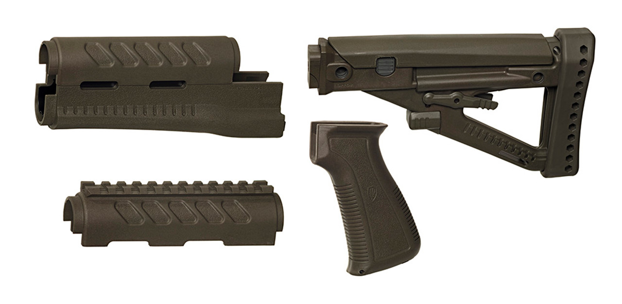 Archangel® OPFOR® Series Buttstock, Railed Forend, Pistol Grip Complete Set for YUGO PAP AK - Olive Drab Polymer