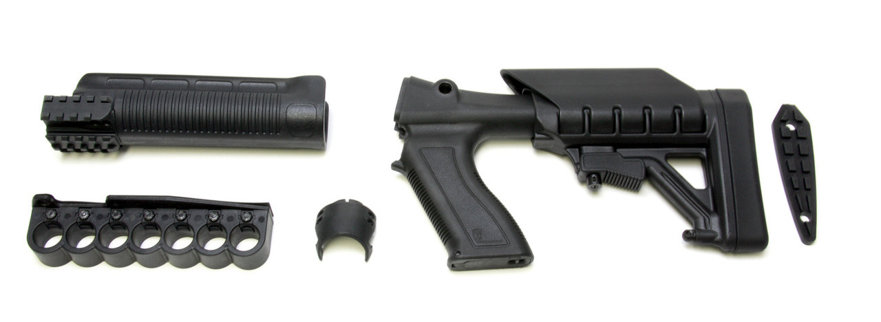 Archangel® 12 Gauge Tactical Pistol Grip Stock for the Mossberg® 500® / 590® includes 6 Position Adjustable Buttstock with Recoil Pad, Tri-Rail Forend and (7) Rd Shell Carrier - Black Polymer