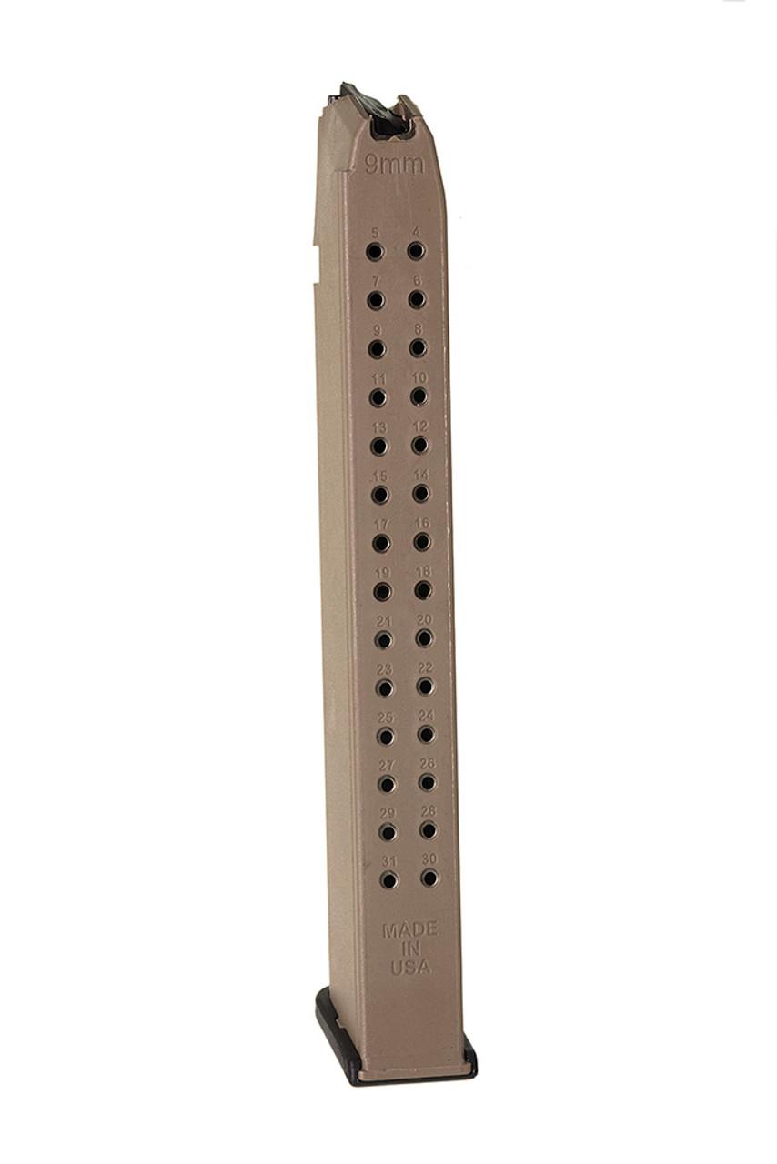 Fits the Glock® Model 17, 19, & 26 9mm (32) Rd - Flat Dark Earth Polymer