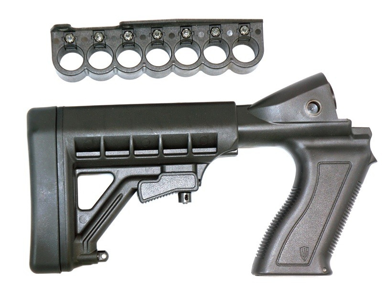 Archangel® 12 Gauge Tactical Pistol Grip Stock for the Remington® Model 870™ includes 6 Position Adjustable Buttstock with Recoil Pad and (7) Rd Shell Carrier - Black Polymer