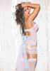LACE AND MESH BRIDAL GARTERED CHEMISE