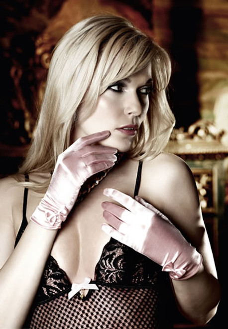 BABY PINK SATIN RIBBON GLOVES
