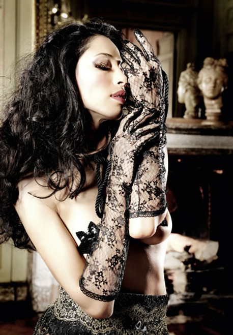 BLACK ELBOW-LENGTH LACE GLOVES