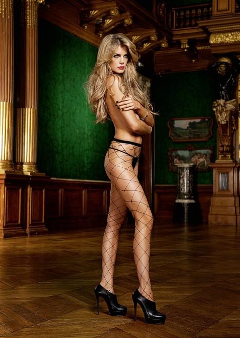 Sexy black diamond net pantyhose.