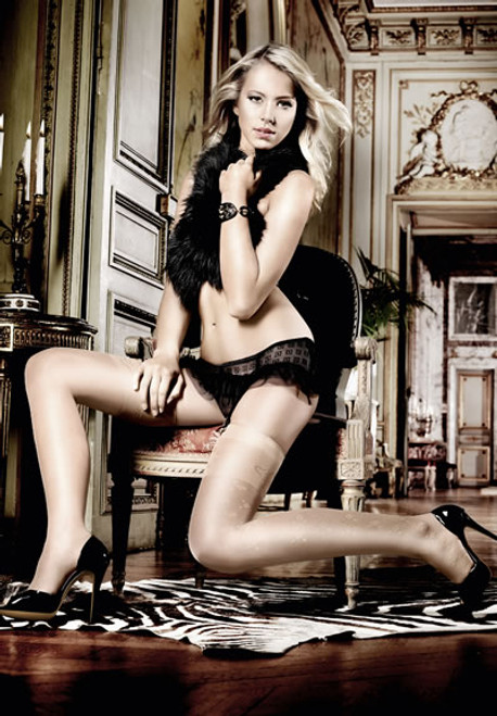 CHAMPAGNE SIDE SEAM STOCKINGS WITH PATTERNED CUFFS