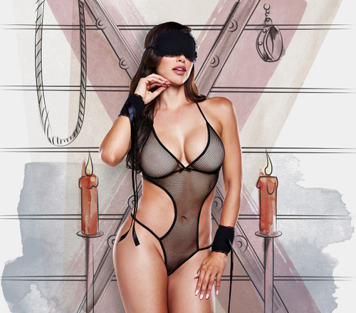 Black mesh monokini with mask and cuffs with satin