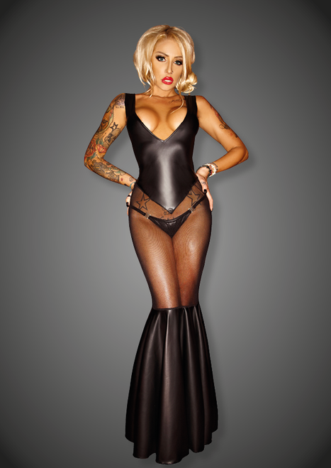 Wetlook dress with tull applications