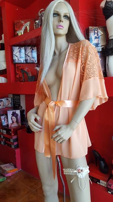 Sheer bedroom kimono in warm apricot