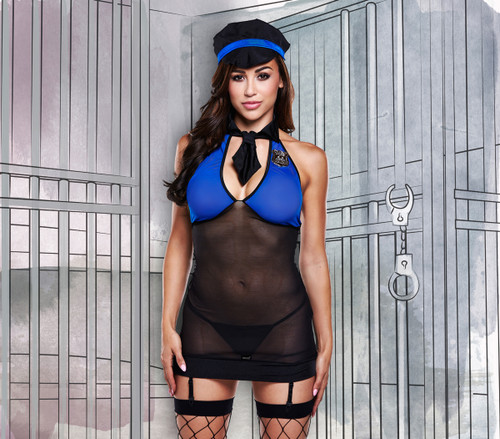 Blue-black police dress with suspenders